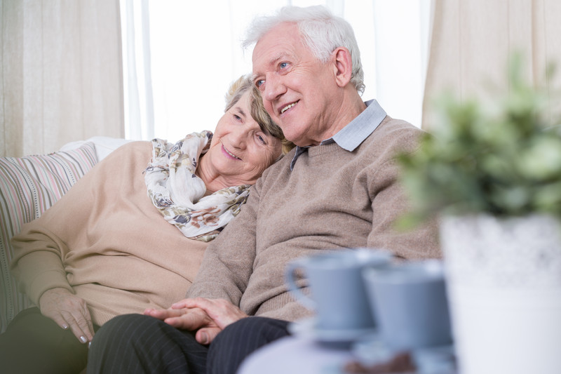 retired couple in lounge