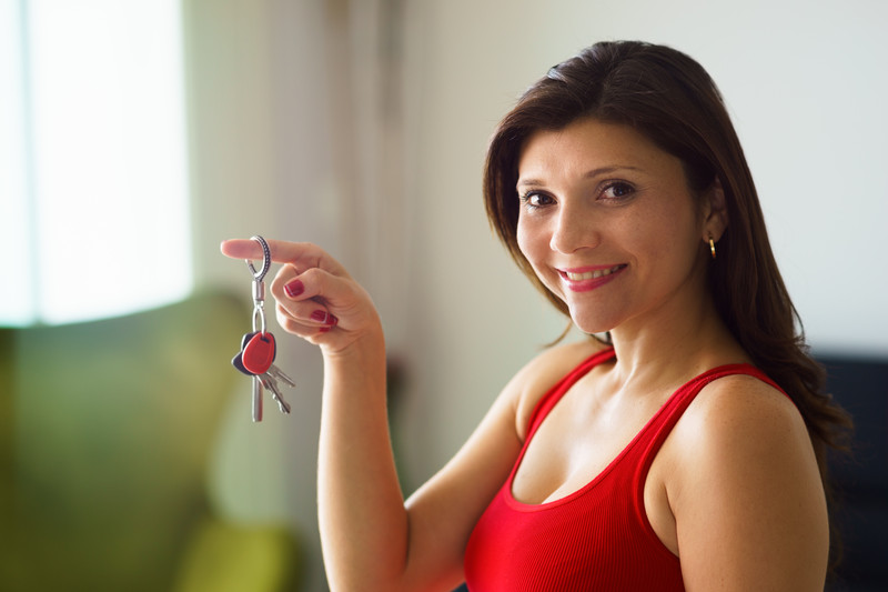 woman with house keys