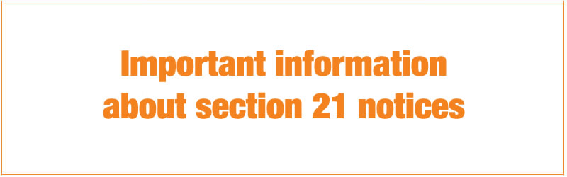 important information about section 21 notices